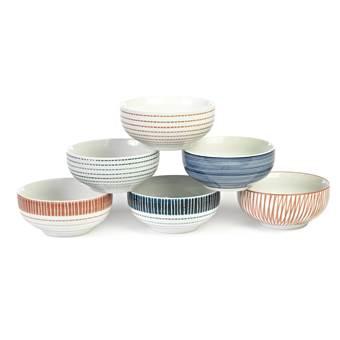 Pols Potten Stripes & Blocks Kommen Set van 6 – Ø 13 cm | Porselein