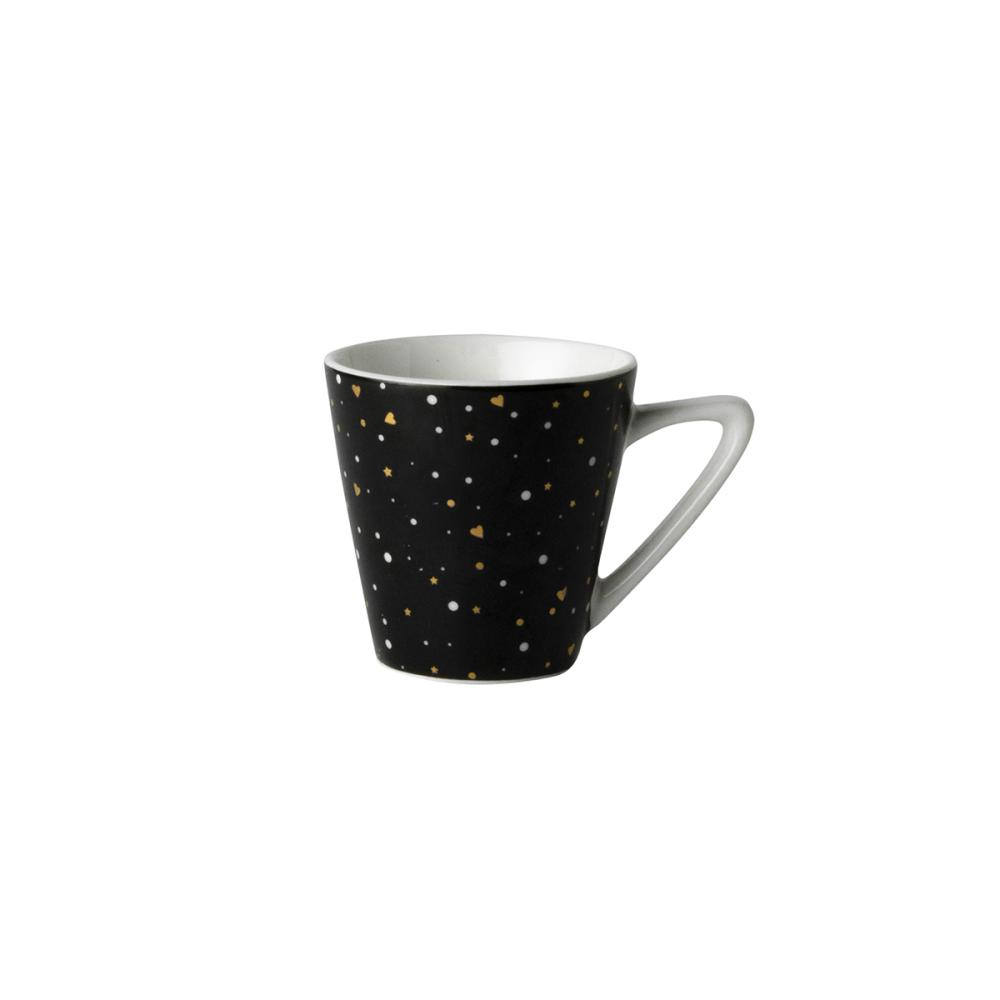 Dutch Rose Loft Zwart-Wit Espresso Kopje Zwart met Glitters 9 cl