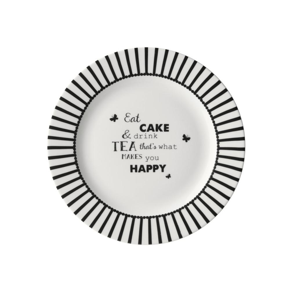 Dutch Rose Zwart-Wit Gebakbord Tekst'Eat Cake&Drink Tea'18 cm