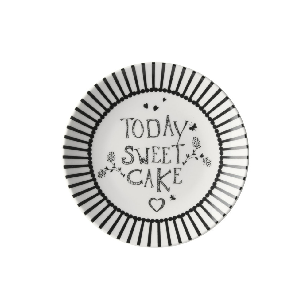 Dutch Rose Zwart-Wit Petit Four Tekst'Today Sweet Cake'12 cm