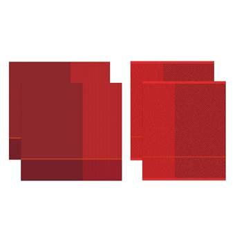 DDDDD Keukendoeken En Theedoeken Set Blend Fire Red (2+2 stuks)