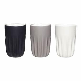 Hübsch 710602 Mokken – set van 3 – zwart, grijs, wit – ø 8 cm x H 12