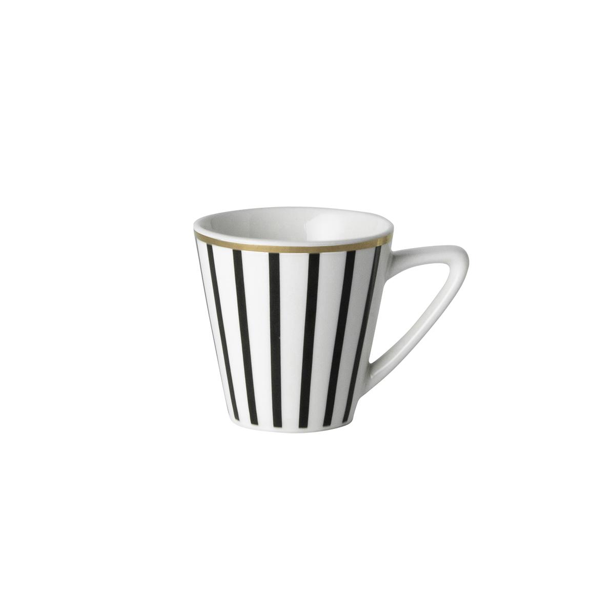 Dutch Rose Loft Zwart-Wit Espresso Kopje Gouden Rand 9 cl