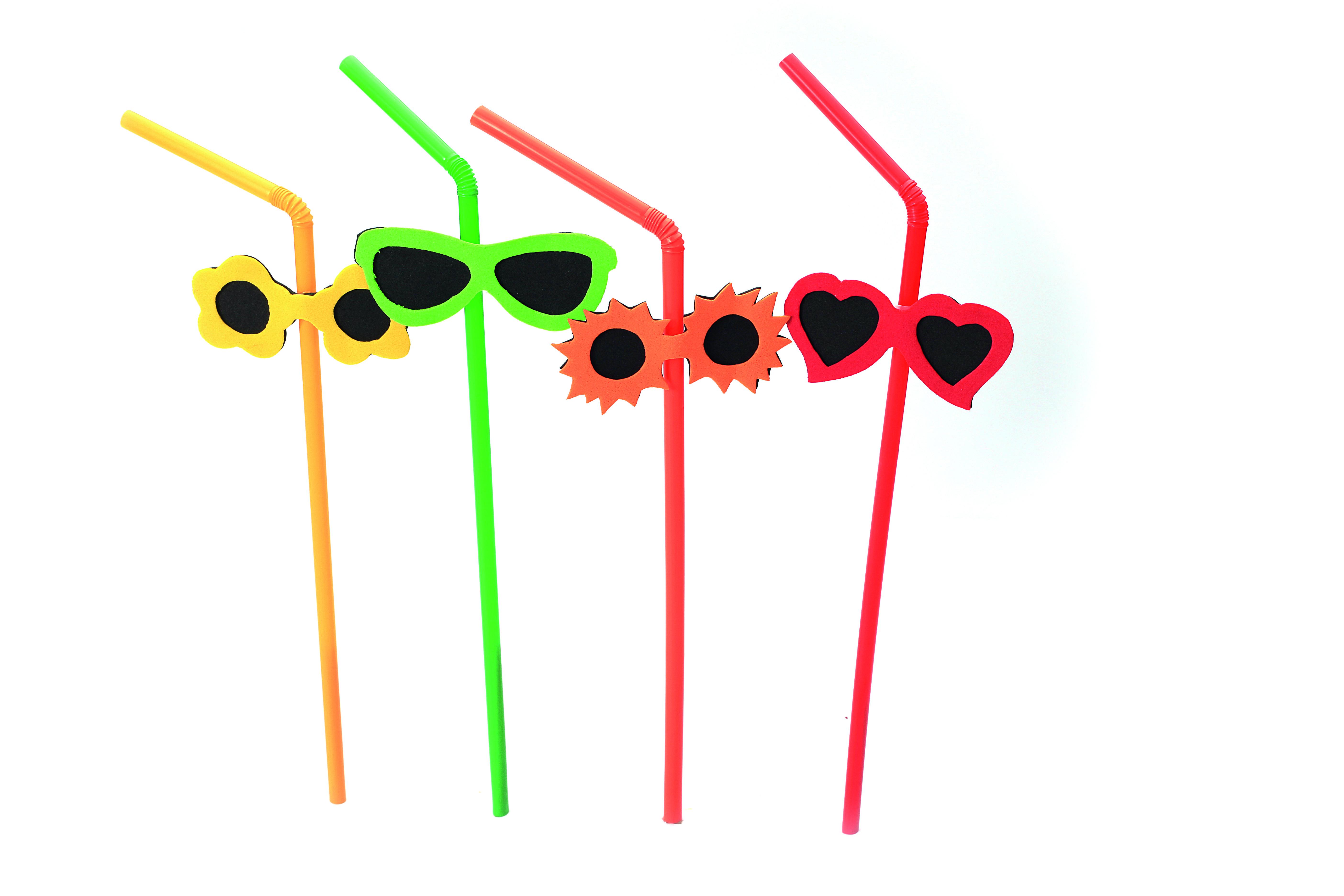 Buigrietje uni met zonnebril, Ø 5 mm / 24 cm, 12×100 per doos | 18718226761382